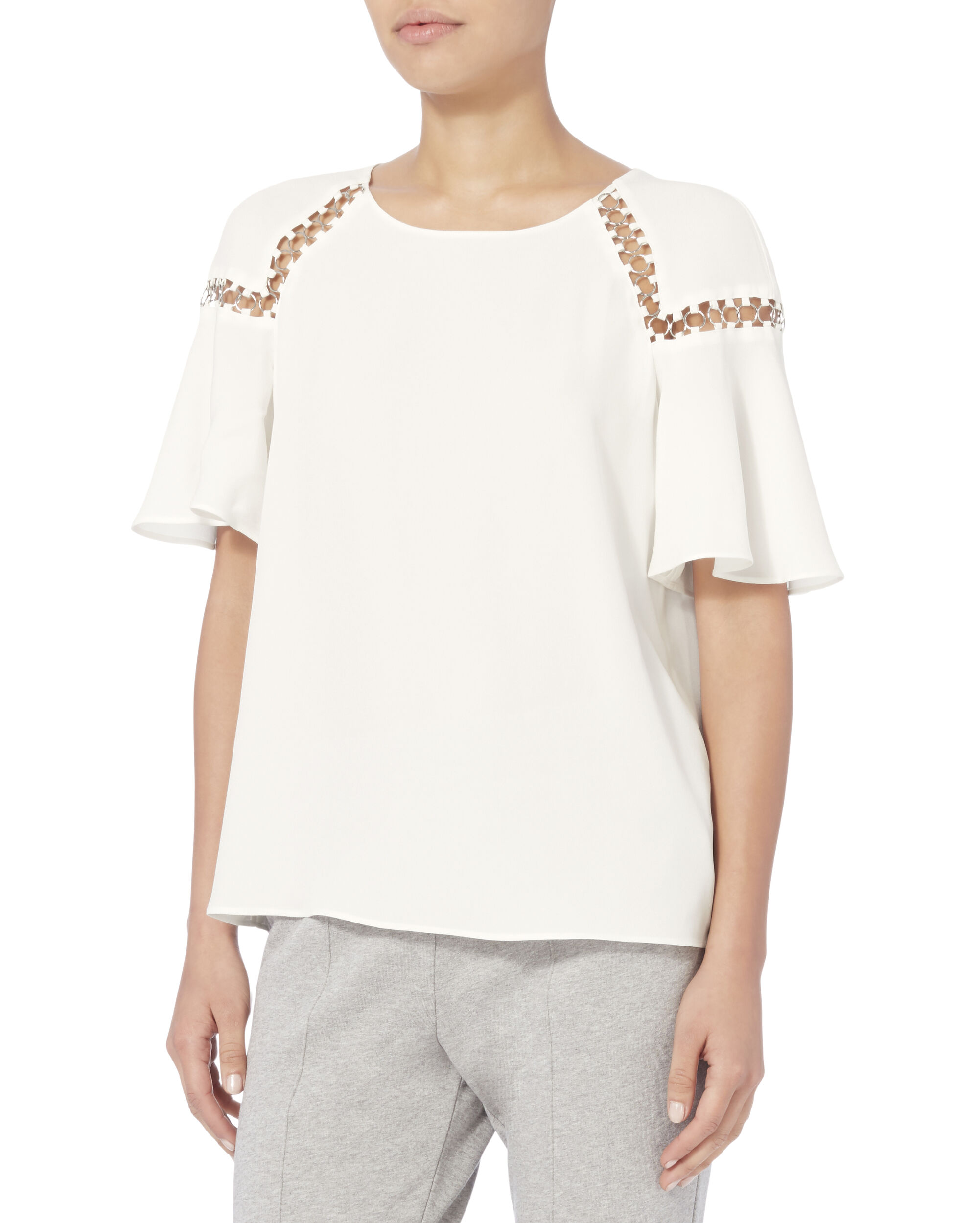 Sheila Ring Detail Blouse, WHITE, hi-res