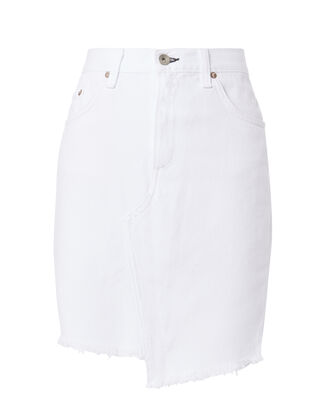 Dive High-Rise White Denim Skirt, WHITE, hi-res