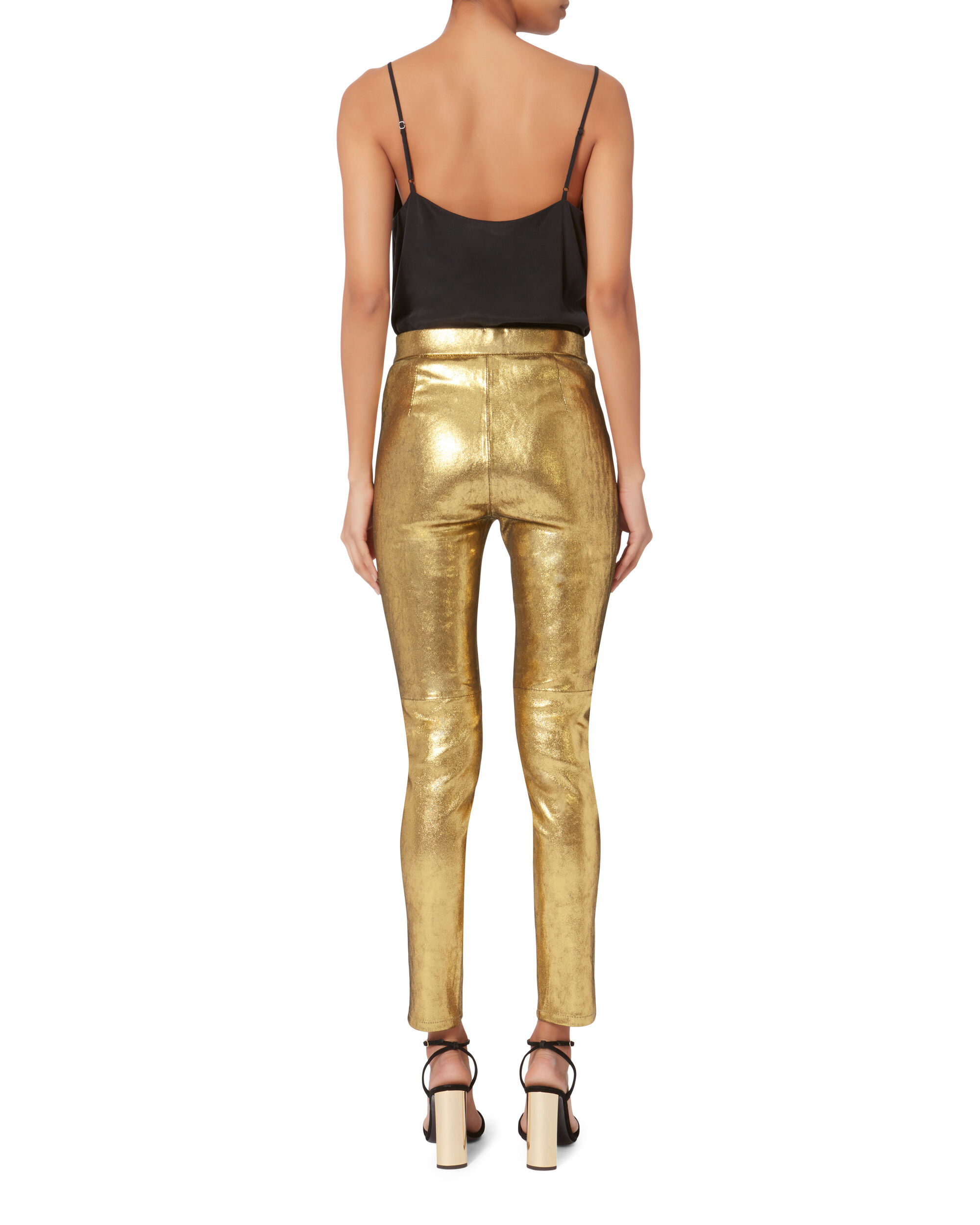 Hartley Stretch Gold Leather Leggings, GOLD, hi-res