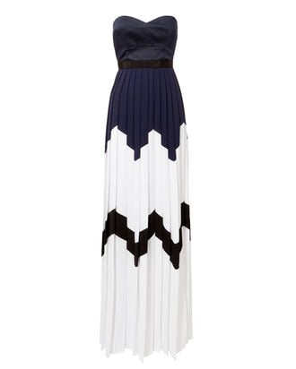 Bandeau Pleated Dress, WHITE, hi-res