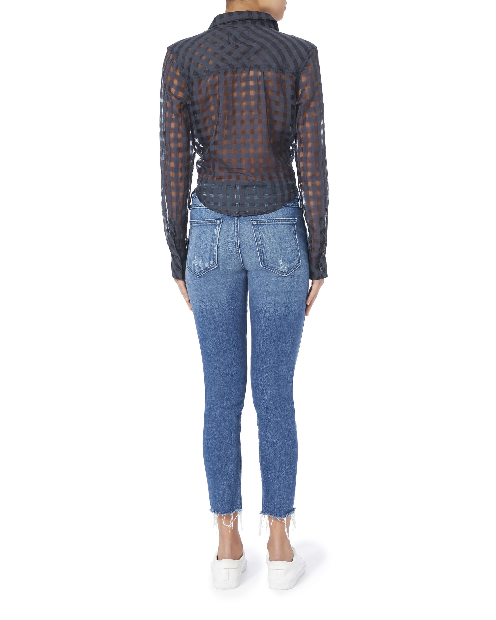 Kelsey Midnight Shadow Check Top, NAVY, hi-res