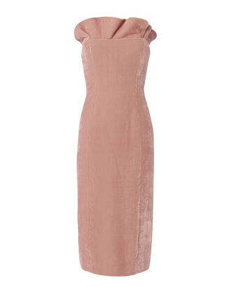 Marceau Ruffle Trim Strapless Dress, PINK, hi-res