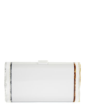 Lara Backlit Clutch, WHITE, hi-res