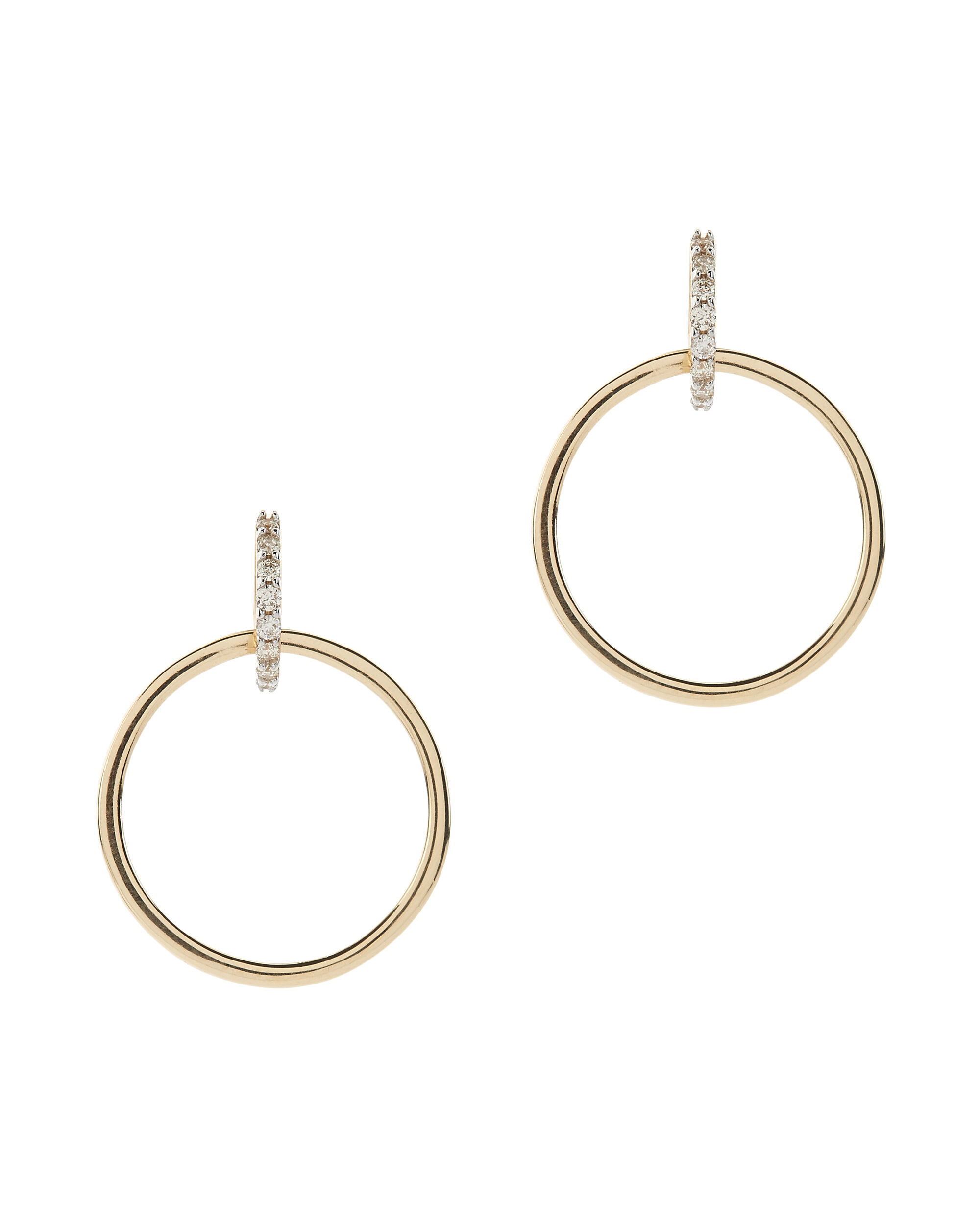 Diamond Circle Drop Earrings, METALLIC, hi-res