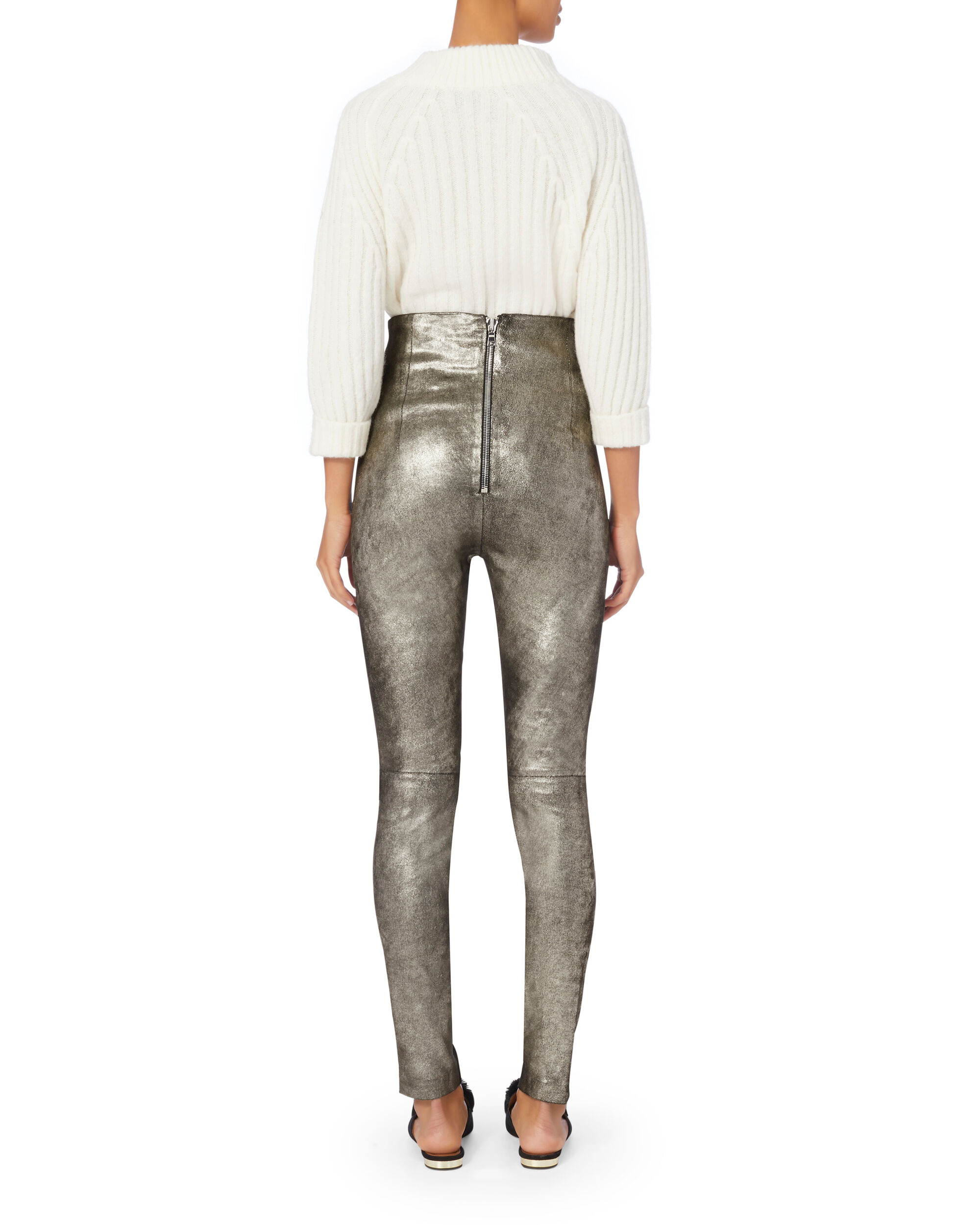 Jessica Silver Leather Pants, SILVER, hi-res