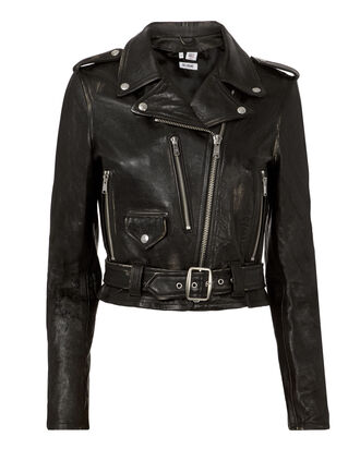 Vintage Black Leather Moto Jacket, BLACK, hi-res