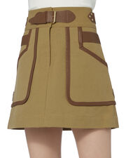 Leather Trimmed Khaki Skirt, BEIGE/KHAKI, hi-res