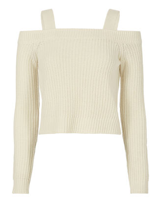 Ambrose Cold Shoulder Sweater, WHITE, hi-res