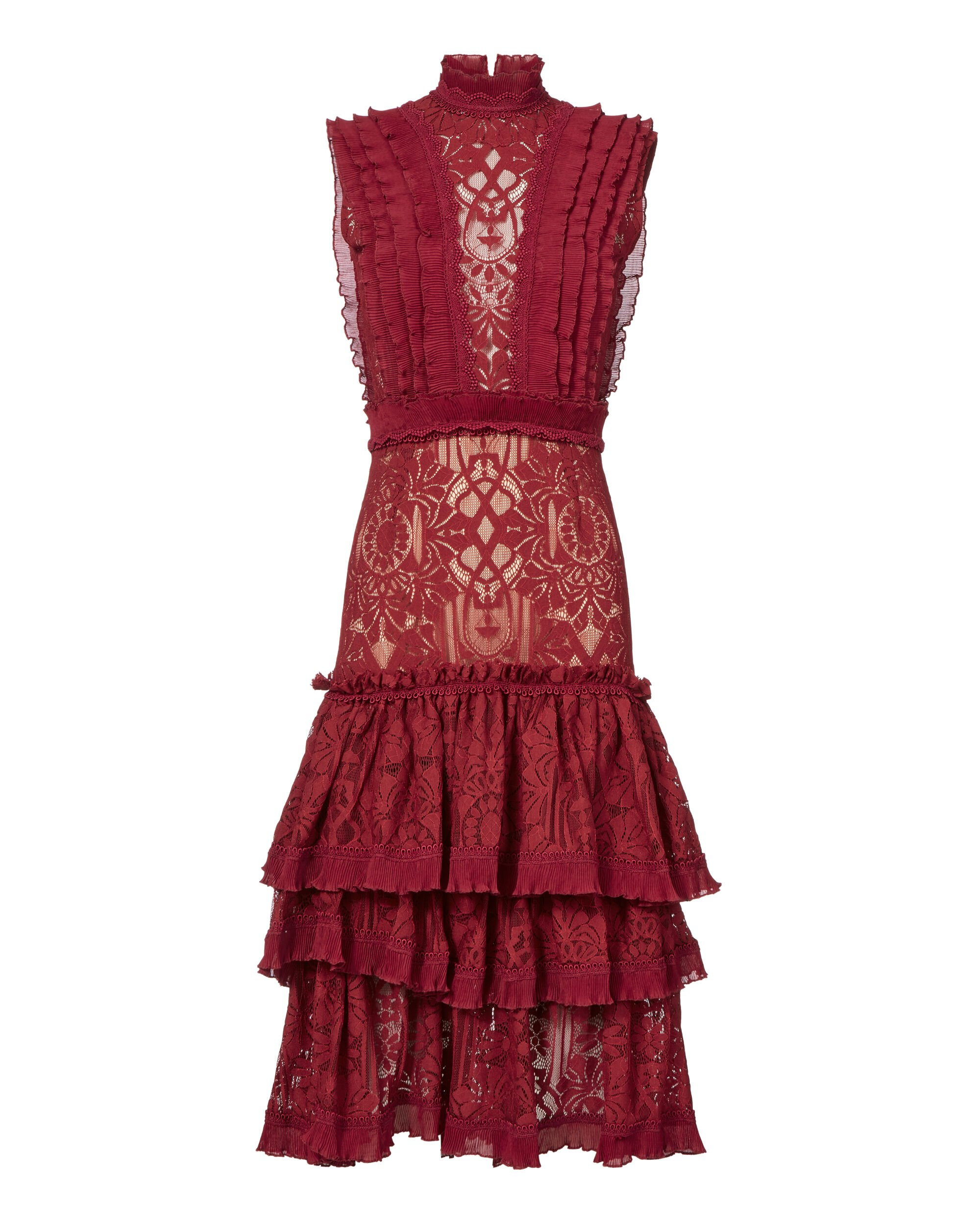 Tower Mesh Lace Ruffled Dress, RED-DRK, hi-res