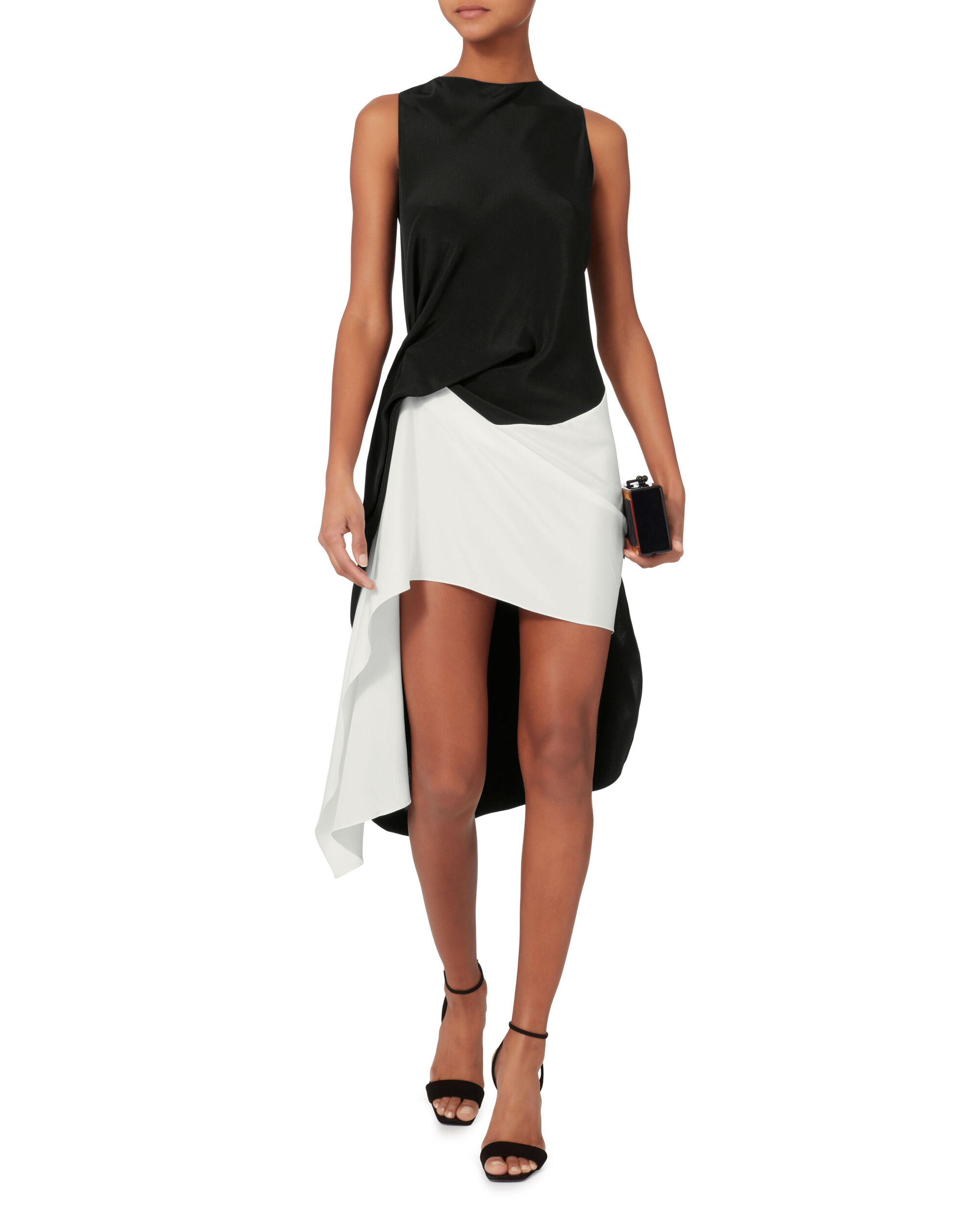 Oakworth Asymmetric Dress, BLACK/WHITE, hi-res