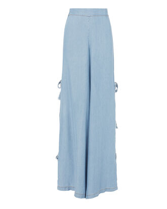 Chambray Fringe Tie Side Pants, DENIM, hi-res