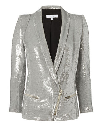 Silver Sequin Blazer, METALLIC, hi-res