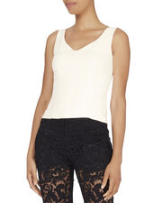 Cady Wide V-Neck Top, WHITE, hi-res