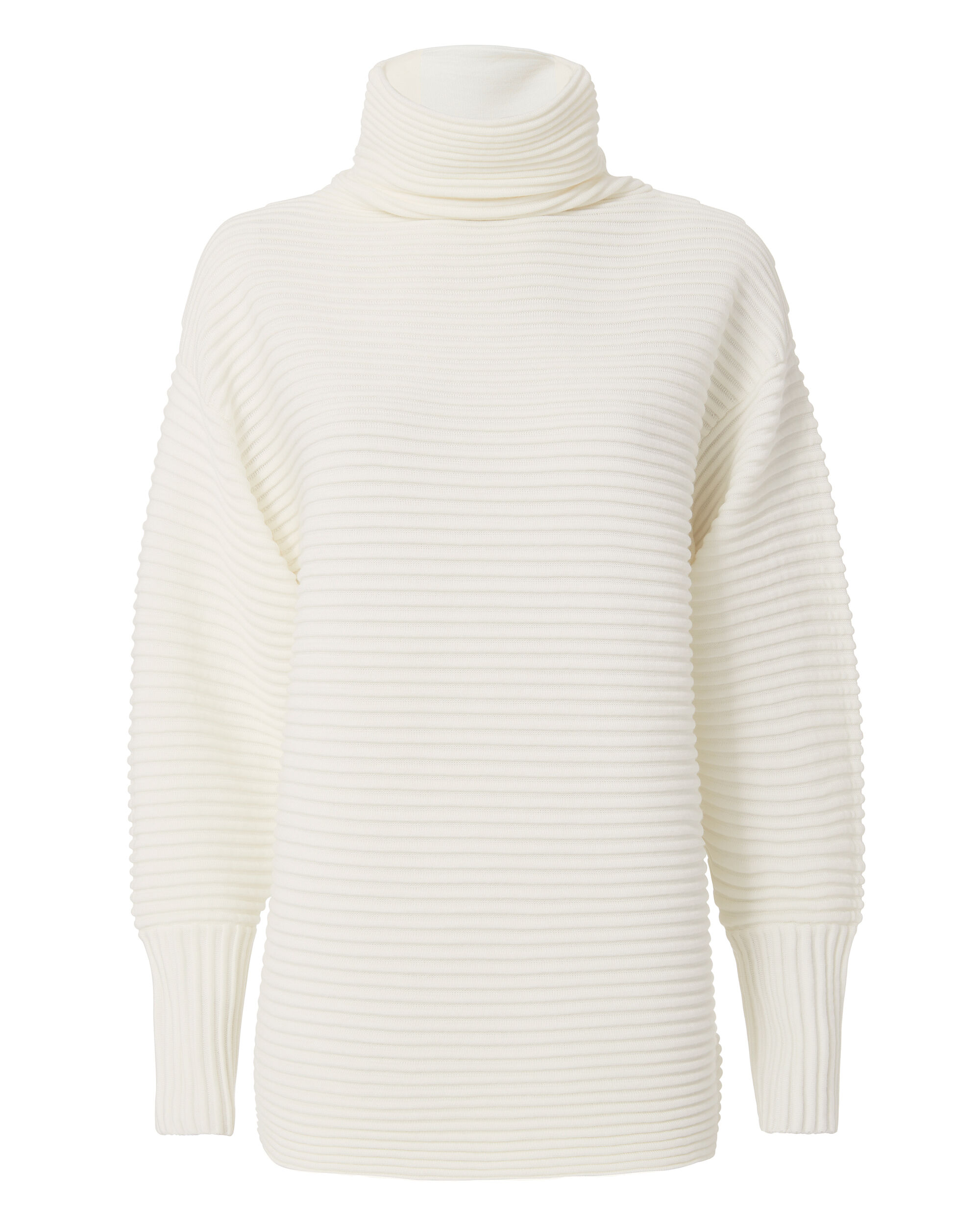 Funnel Neck Rib Knit Sweater, IVORY, hi-res