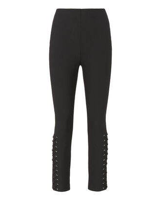 Lace-Up Hem Black Skinny Pants, BLACK, hi-res