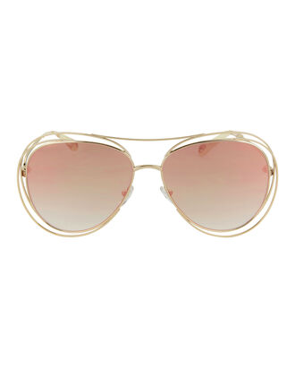 Carlina Wire Round Sunglasses, GOLD, hi-res