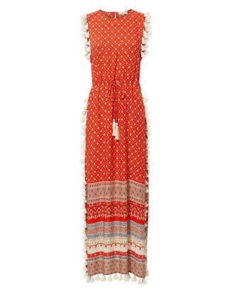 Pom Pom Fringe Maxi Dress, RED, hi-res