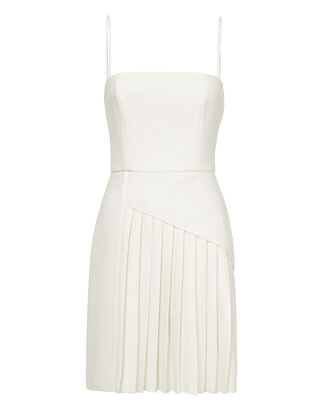 White Pleated Crepe Dress, IVORY, hi-res