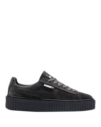 Creeper Dark Grey Velvet Lace-Up Low Sneakers, GREY, hi-res