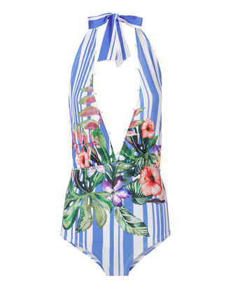 Halter Blossom One Piece Swimsuit, STRIPE, hi-res