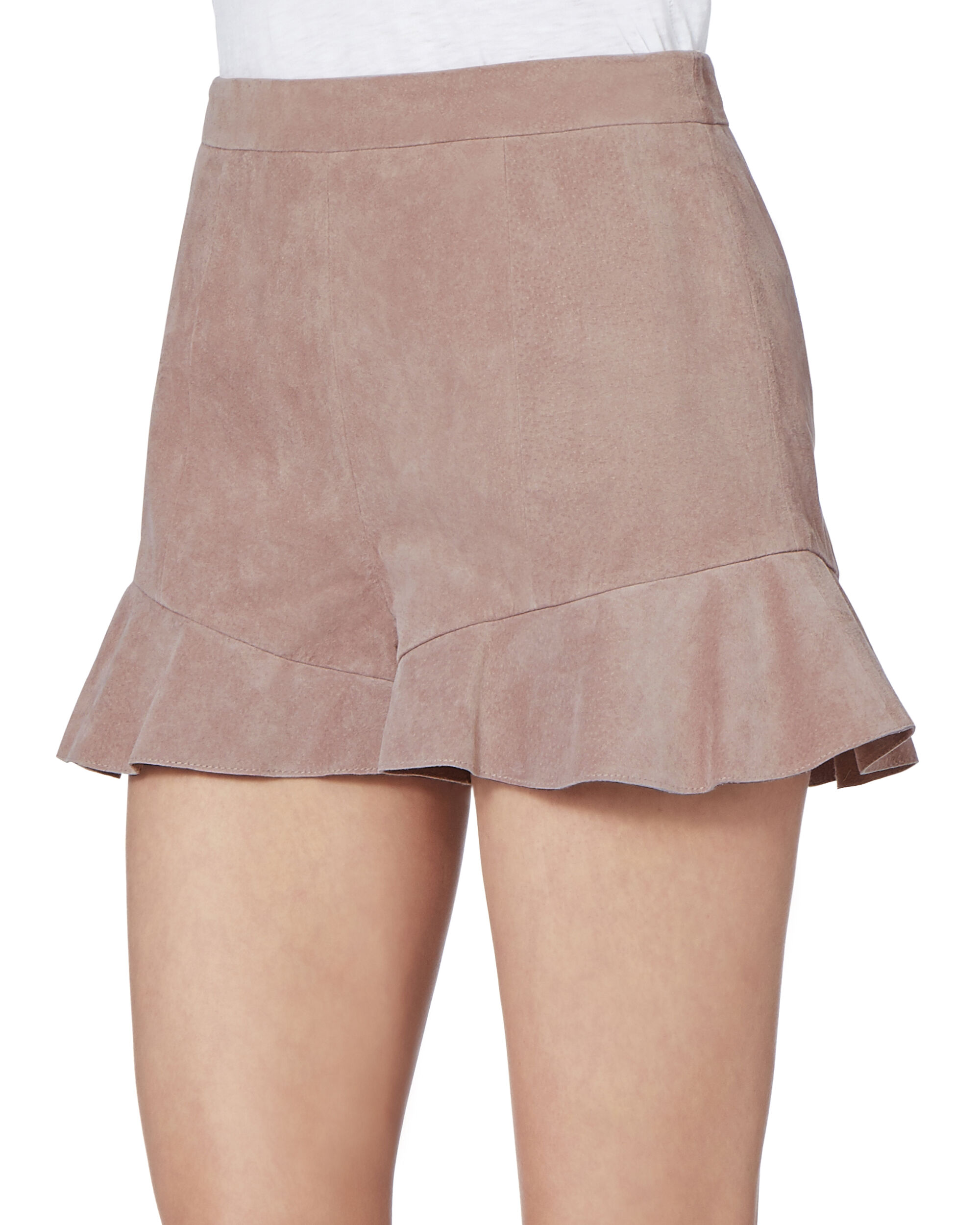 Emma Suede Ruffle Detail Shorts, PURPLE, hi-res