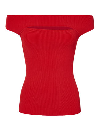Alexa Off Shoulder Cutout Knit Top, RED, hi-res