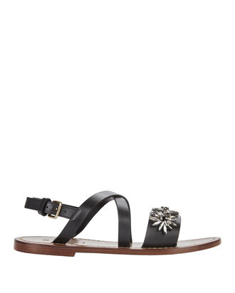 Crystal Embellished Flat Leather Sandals, NAVY, hi-res