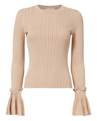 Flare Sleeve Blush Sweater, BLUSH, hi-res