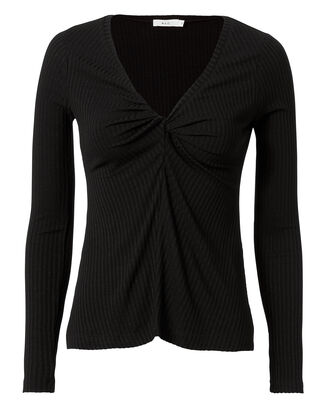 Madrew Ribbed Black Top, BLACK, hi-res