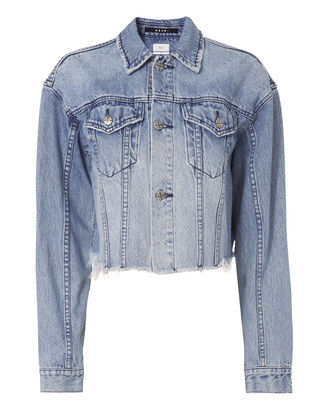 Daggerz Distressed Denim Crop Trucker Jacket, DENIM, hi-res