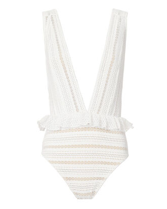 Bardot Deep-V One Piece Swimsuit, WHITE, hi-res