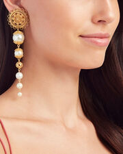 Pearl and Gold Drop Earrings, WHITE, hi-res