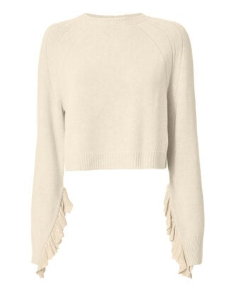Cropped Ruffle Pullover Sweater, BEIGE/KHAKI, hi-res