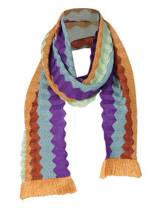 Fringe Trim Accordion Scarf, , hi-res