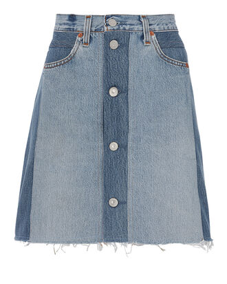Button Front Mini Skirt, DENIM, hi-res