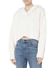 Cashmere-Blend Cropped Hoodie, WHITE, hi-res