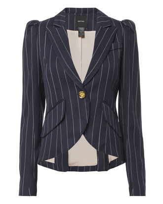 Pouf Sleeve Striped Blazer, STRIPE, hi-res