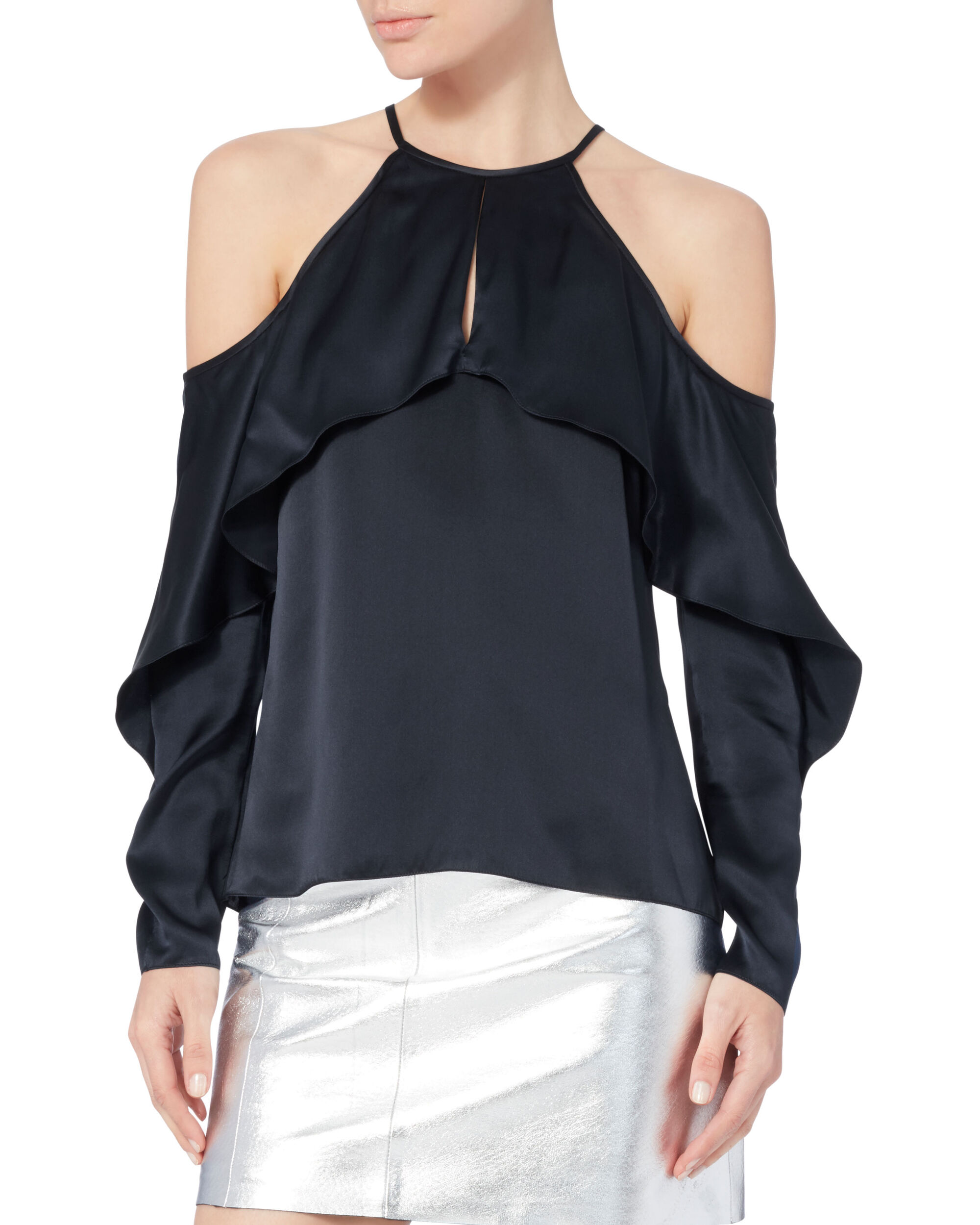 Florence Cold Shoulder Top, NAVY, hi-res