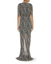 Domingo Printed Ruched Gown, PAISLEY, hi-res