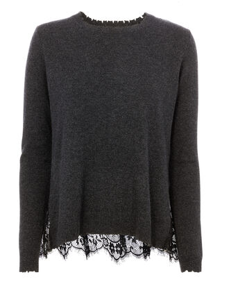 Lace Back Sweater, CHARCOAL, hi-res