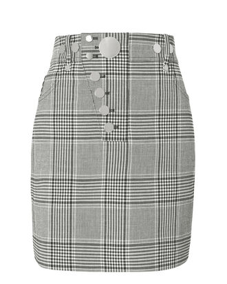High-Waisted Plaid Mini Skirt, BLK/WHT, hi-res