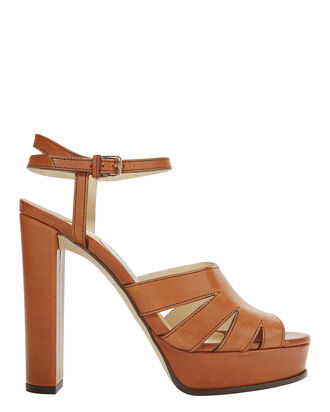 Hermione Platform Sandals, BROWN, hi-res