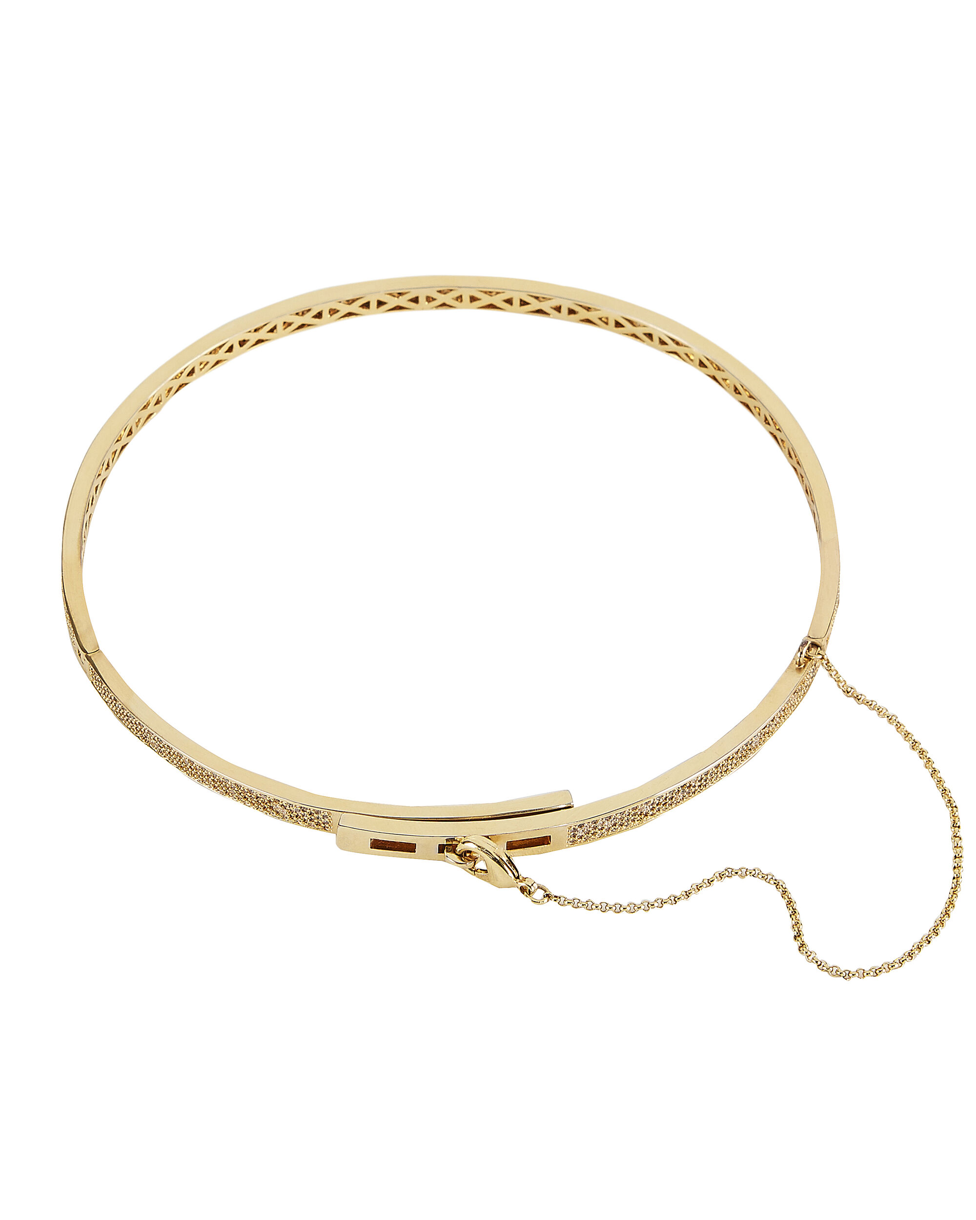 Pavé Extra Thin Safety Chain Choker, GOLD, hi-res