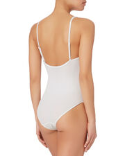 Arianna White Mesh One Piece Swimsuit, WHITE, hi-res
