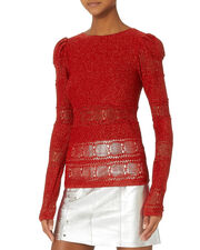 Lurex Pouf Sleeve Sweater, RED, hi-res