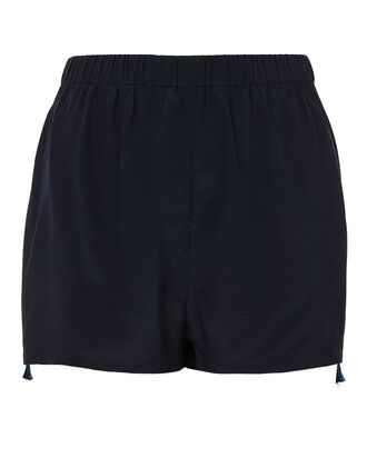Cassia Embroidered Silk Shorts, NAVY, hi-res