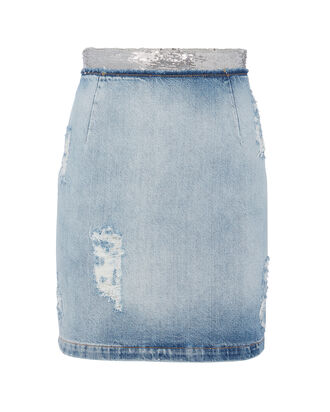 Sequin-Embellished Denim Pencil Skirt, DENIM, hi-res