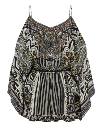 Tribal Theory Cold Shoulder Playsuit, PRINT, hi-res