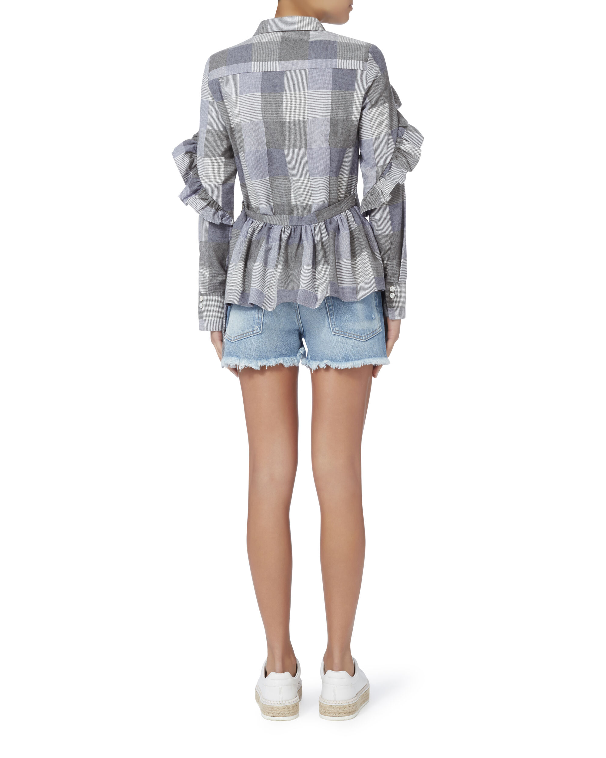 Long-Sleeved Plaid Ruffle Shirt, BLUE-MED 10, hi-res