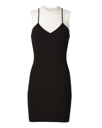 Aviana Double Layer Knit Dress, BLACK/WHITE, hi-res